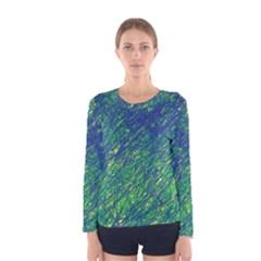 Green pattern Women s Long Sleeve Tee