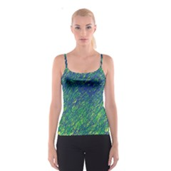 Green pattern Spaghetti Strap Top