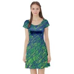 Green pattern Short Sleeve Skater Dress