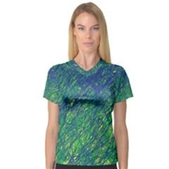 Green pattern Women s V-Neck Sport Mesh Tee