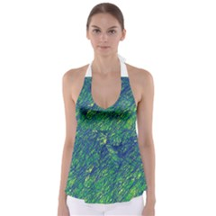 Green Pattern Babydoll Tankini Top