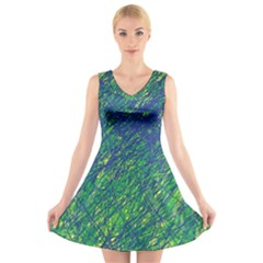 Green pattern V-Neck Sleeveless Skater Dress