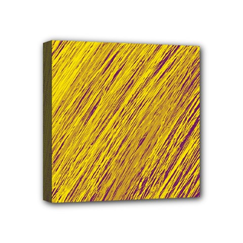 Yellow Van Gogh pattern Mini Canvas 4  x 4