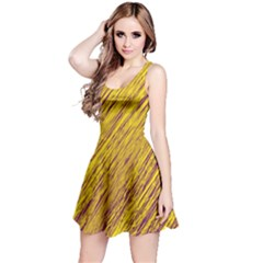 Yellow Van Gogh pattern Reversible Sleeveless Dress