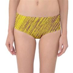 Yellow Van Gogh pattern Mid-Waist Bikini Bottoms