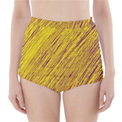 Yellow Van Gogh Pattern High Waisted Bikini Bottoms