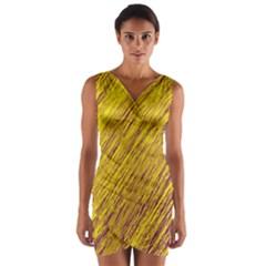 Yellow Van Gogh pattern Wrap Front Bodycon Dress