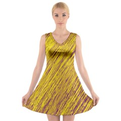 Yellow Van Gogh pattern V-Neck Sleeveless Skater Dress