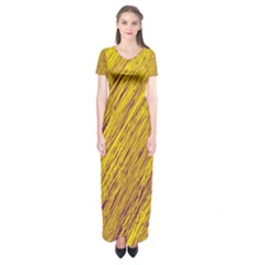Yellow Van Gogh pattern Short Sleeve Maxi Dress