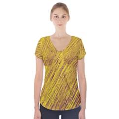 Yellow Van Gogh pattern Short Sleeve Front Detail Top