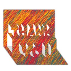 Orange Van Gogh pattern THANK YOU 3D Greeting Card (7x5)