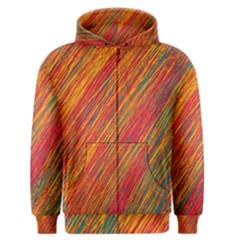 Orange Van Gogh pattern Men s Zipper Hoodie
