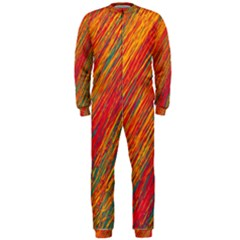 Orange Van Gogh pattern OnePiece Jumpsuit (Men)