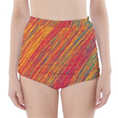 Orange Van Gogh pattern High-Waisted Bikini Bottoms
