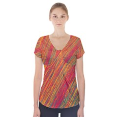 Orange Van Gogh pattern Short Sleeve Front Detail Top