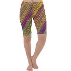 Yellow, purple and green Van Gogh pattern Cropped Leggings