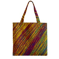Yellow, purple and green Van Gogh pattern Zipper Grocery Tote Bag