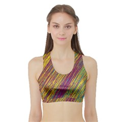 Yellow, purple and green Van Gogh pattern Sports Bra with Border