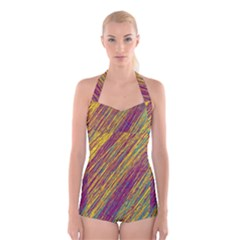 Yellow, purple and green Van Gogh pattern Boyleg Halter Swimsuit