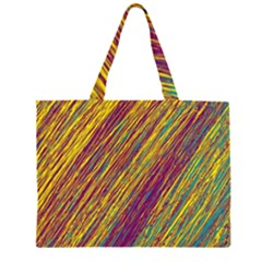 Yellow, Purple And Green Van Gogh Pattern Zipper Large Tote Bag
