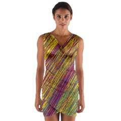 Yellow, purple and green Van Gogh pattern Wrap Front Bodycon Dress