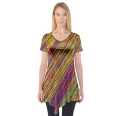 Yellow, Purple And Green Van Gogh Pattern Short Sleeve Tunic