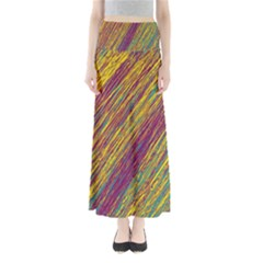 Yellow, purple and green Van Gogh pattern Maxi Skirts