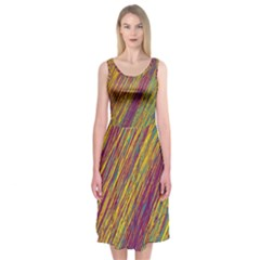 Yellow, purple and green Van Gogh pattern Midi Sleeveless Dress