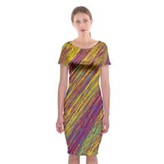 Yellow, purple and green Van Gogh pattern Classic Short Sleeve Midi Dress