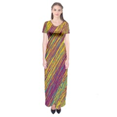 Yellow, purple and green Van Gogh pattern Short Sleeve Maxi Dress