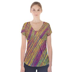 Yellow, purple and green Van Gogh pattern Short Sleeve Front Detail Top