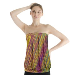 Yellow, purple and green Van Gogh pattern Strapless Top