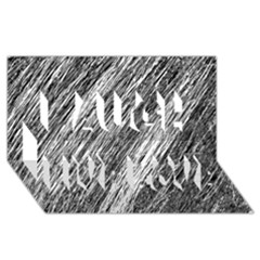 Black and White decorative pattern Laugh Live Love 3D Greeting Card (8x4)