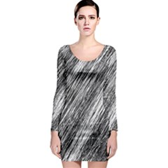 Black and White decorative pattern Long Sleeve Bodycon Dress