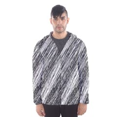 Black and White decorative pattern Hooded Wind Breaker (Men)