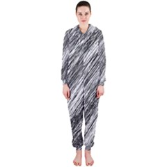 Black and White decorative pattern Hooded Jumpsuit (Ladies)