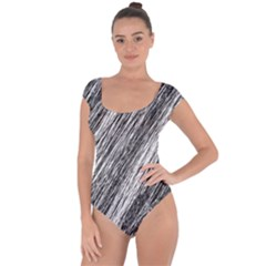 Black And White Decorative Pattern Short Sleeve Leotard