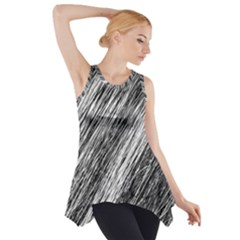 Black And White Decorative Pattern Side Drop Tank Tunic