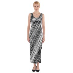 Black and White decorative pattern Fitted Maxi Dress