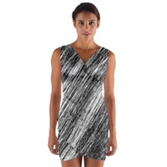 Black and White decorative pattern Wrap Front Bodycon Dress