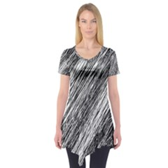Black and White decorative pattern Short Sleeve Tunic