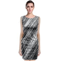 Black and White decorative pattern Classic Sleeveless Midi Dress