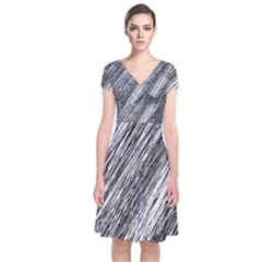 Black And White Decorative Pattern Short Sleeve Front Wrap Dress