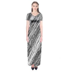 Black and White decorative pattern Short Sleeve Maxi Dress