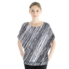 Black and White decorative pattern Batwing Chiffon Blouse