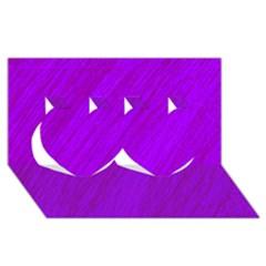Purple pattern Twin Hearts 3D Greeting Card (8x4)