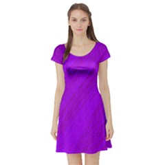 Purple pattern Short Sleeve Skater Dress