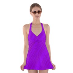 Purple pattern Halter Swimsuit Dress