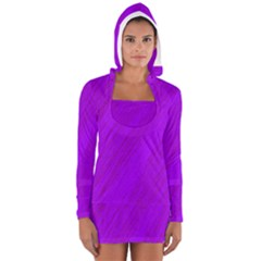 Purple pattern Women s Long Sleeve Hooded T-shirt