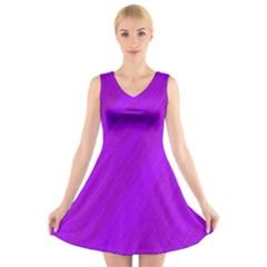 Purple Pattern V Neck Sleeveless Skater Dress